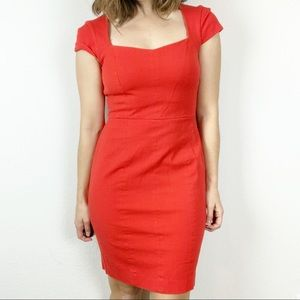 Banana Republic Sloan red cap sleeve fitted dress